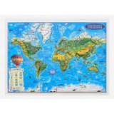 Weltkarte fur kinder, Reliefkarte 3D-Format, 450x330mm (3DGHLCP45-DE)