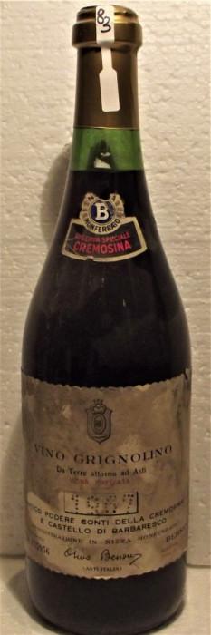 83 - VIN GRIGNOLINO,riserva speciale, recoltare 1967 cl 72 gr 12