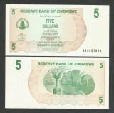 ZIMBABWE  5  DOLLARS  DOLARI   2006  2007  UNC   [1]  P- 38  ,   necirculata