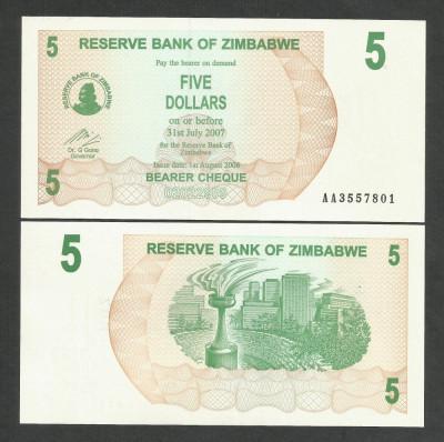 ZIMBABWE  5  DOLLARS  DOLARI   2006  2007  UNC   [1]  P- 38  ,   necirculata foto