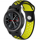 Cumpara ieftin Curea ceas Smartwatch Samsung Gear S2, iUni 20 mm Silicon Sport Black-Yellow
