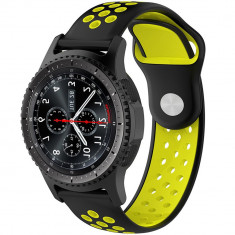 Curea ceas Smartwatch Samsung Gear S3, iUni 22 mm Silicon Sport Black-Yellow