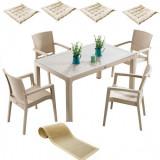 Set mobila gradina INGLESA masa CLASSI RATAN 90x150x75cm 4 scaune PARIS RATTAN polipropilen/fibra sticla culoare capucino,4 perne scaun,Traversa PANAR