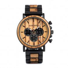 Ceas din lemn Bobo Bird cu curea din lemn, P09-1 Wooden Lux