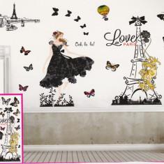 Sticker decorativ 5D Love in Paris + Cadou set Stiker fosforescente