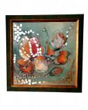 Tablou decorativ floral cu insertii de oglinda, handmade, artist Luminita Neculae