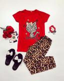 Cumpara ieftin Pijama dama ieftina bumbac cu pantaloni lungi maro animal print si tricou rosu cu imprimeu HK