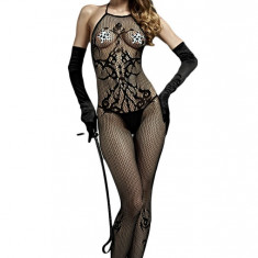BS283-1 Lenjerie neagra si sexy tip bodystocking cu model floral