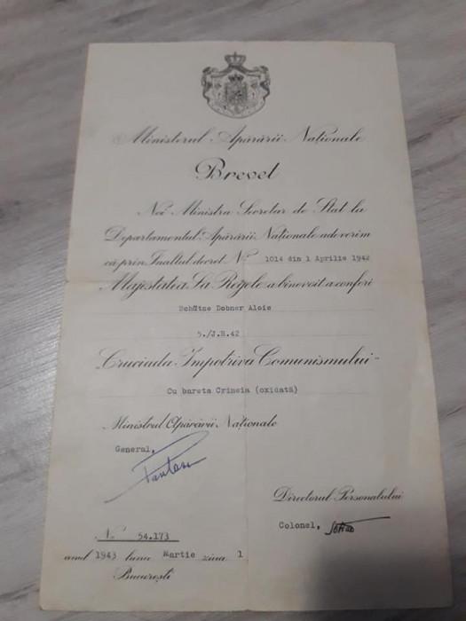 Brevet pt Medalia Cruciada Impotriva Comunismului cu bareta Crimeea oxidata WW2