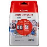 Set cartuse cerneala Canon cap. mare PG-545XL + CL-546XL + hartie foto 10x15 50coli