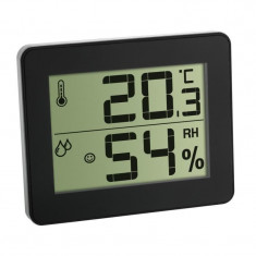 Termometru si higrometru digital de camera TFA, extra-plat, negru