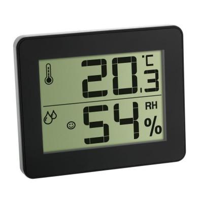 Termometru si higrometru digital de camera TFA, extra-plat, negru foto