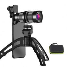 Lentila conversie telescopica Apexel APL-4-12XJJ04 Zoom 4-12X cu mini trepied si suport pentru smartphone