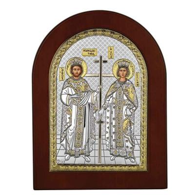 Icoana Argint Sfantii Constantin si Elena 15x21 cm cu Auriu Cod Produs 2744 foto