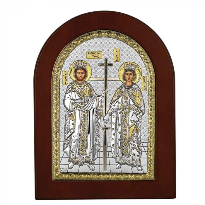 Icoana Argint Sfantii Constantin si Elena 15x21 cm cu Auriu Cod Produs 2744