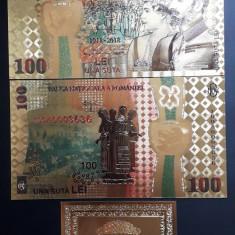 100 LEI 2018 CENTENAR - BANCNOTA POLYMER (PLASTIC) PLACATA CU AUR 24K