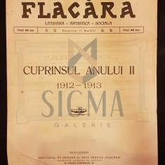BANU C. (Director), FLACARA (Literara, Artistica si Sociala), Cuprinsul Anului II (1912-1913), Bucuresti, 1914