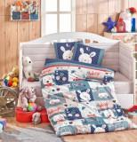 Set lenjerie de pat pentru copii, Hobby, bumbac ranforce, 100 x 150 cm, 113HBY0051, Multicolor