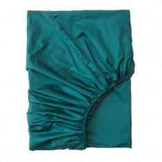 Cearsaf bumbac satinat cu elastic, 90 x 200 cm, Turcoaz