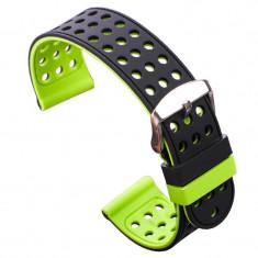Curea silicon cu doua fete compatibila cu Smartwatch, 24mm, Negru/Verde