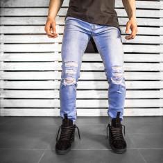 Blugi pentru barbati albastri slim fit conici casual skinny rupturi genunchi 0055
