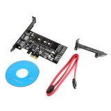 Adaptor Dual USB3.0 1 port Type-c M.2 PCIe Adapter M2 SSD SATA B Key la PCI-e 1x