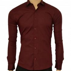 Camasa Slim Fit bordo cu terminatii negre - Camasa bordo barbati ZR67