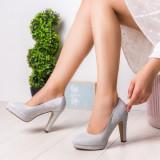 Pantofi dama cu toc argintii Maliasy