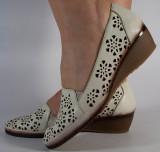 Pantofi nude perforati platforma piele naturala (cod 196055), 36, 38 - 40