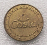 JETON CAZINO VAS CROAZIERA COSTA CROCIERE GAMING TOKEN, BRONZ, 25 mm **