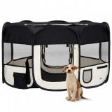 Țarc de câini pliabil cu sac de transport, negru, 145x145x61 cm