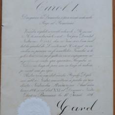 Diploma regala , semnata olograf de Carol I , 1886