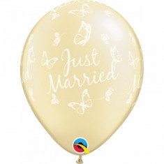 Baloane nunta Just Married ivory cu fluturi 28 cm set 25 buc