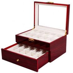 Cutie caseta din lemn pentru depozitare si organizare 20 ceasuri, model Pufo...