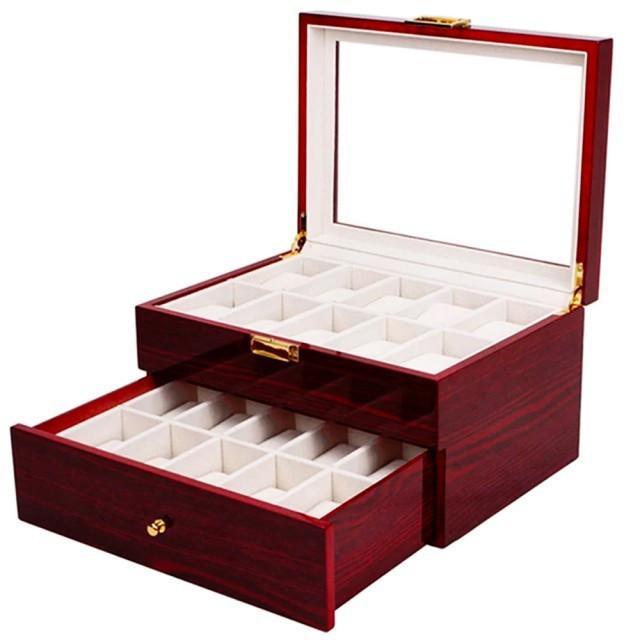 Cutie caseta din lemn pentru depozitare si organizare 20 ceasuri, model Pufo Premium etajat cu sertar