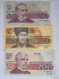 Bulgaria lot 3 bancnote:50+200 Leva 1992 si 100 Leva 1993