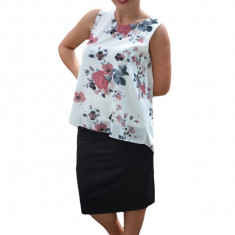 Bluza de vara tip maieu din voal Florice cu imprimeu floral ,nuanta de alb, 36, 38, 40, 42, 44