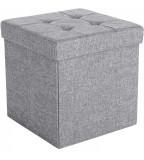 Taburet cu spatiu depozitare, Pliabil, Gri deschis, 38x38x38 cm