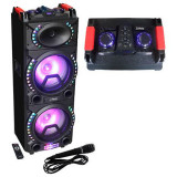 BOXA PORTABILA 2X10 inch/25CM ILUMINATA 200W USB/SD/BT/FM/AUX