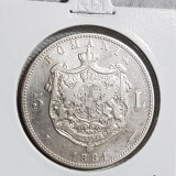 Moneda 5 lei 1881 Carol I rege , argint