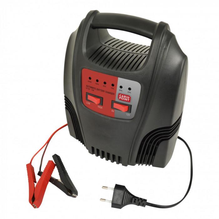 Incarcator acumulator auto Carpoint 6V/12V 2-12A redresor cu led de incarcare a bateriei