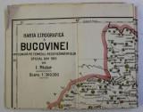 HARTA ETNOGRAFICA A BUCOVINEI INTOCMITA PE TEMEIUL RECENZAMANTULUI OFICIAL DIN 1910 de I. NISTOR , SCARA 1 / 300.000