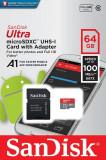Card microSD 64Gb cu adaptor SDHC, clasa10, 100mb/s, SanDisk, Adata