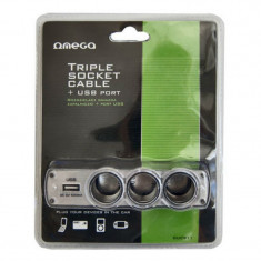 Priza auto tip adaptor Omega, 3 x prize, incarcator USB