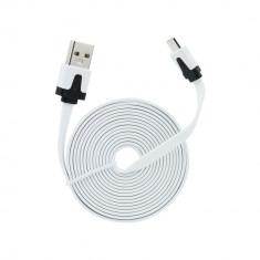 Cablu Date & Incarcare Plat MicroUSB - 2 Metri (Alb)