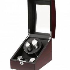 Cutie pentru intors ceasuri automatice iUni, Watch Winder 2 + 3 spatii depozitare Mahon