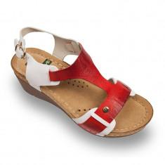 Sandale Leon 1010 alb cu rosu – dama