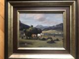 Tablou,pictura in ulei pe panza,tarani la cosit, Peisaje, Altul