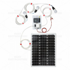 Sistem de iluminat solar 50W cu 3 becuri