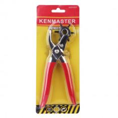Perforator curele Kenmaster, metalic, rosu
